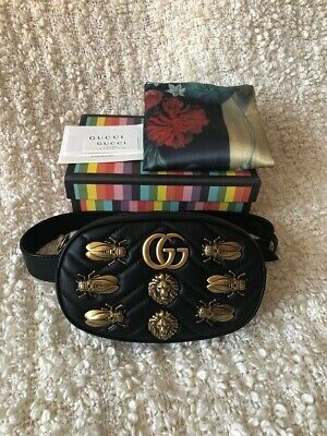 7f31b593f51 GUCCI BLACK GG Marmont Animal Studs Belt Waist Bum Bag -  1