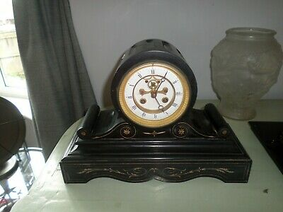 French H & F Of Paris  Slate Mantle Clock For Restoration