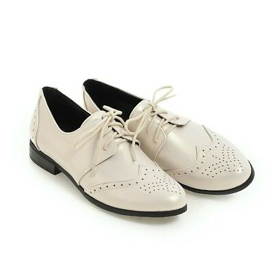 Solid Leather Lace Up Women Shoes Casual Girls Carved British Style Retro Hot