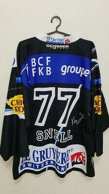 Signed Fribourg Gotteron Match Worn Issue Ice Hockey Shirt Ochsner #77 Snell