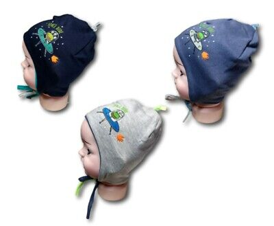 Baby Boy Toddler Spring Autumn Soft Elastic Cotton Hat Cap With Strings 3-4Month