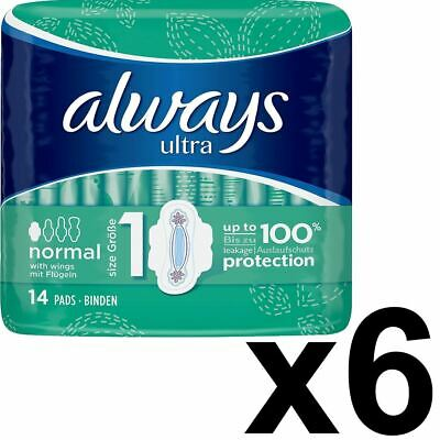 Always Ultra Normal Sanitary Towels Pads With Wings Size 1 Absorbent, Pack of 84