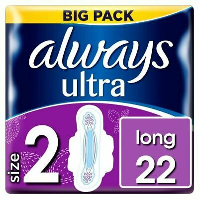 Always Ultra Long Sanitary Towels Pads Size 2 Wings Womens Absorbent Pack of 22