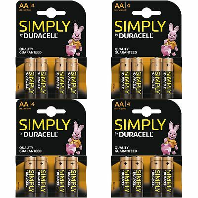 16 x Duracell Simply AA 1.5v Power Battery Pack Alkaline LR6 MN1500 Long Lasting