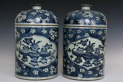 Chinese Beautiful Pair Blue and White Porcelain Wintersweet Tea Caddies