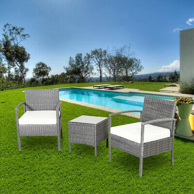 Outdoor 3pc Rattan Wicker Bistro Sofa Set Coffee Table Chair Patio Furniture New