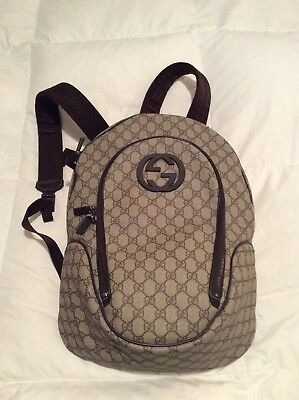feab0b00b4b Gucci Brown GG Supreme Interlocking G backpack 100% Authentic Rare Htf
