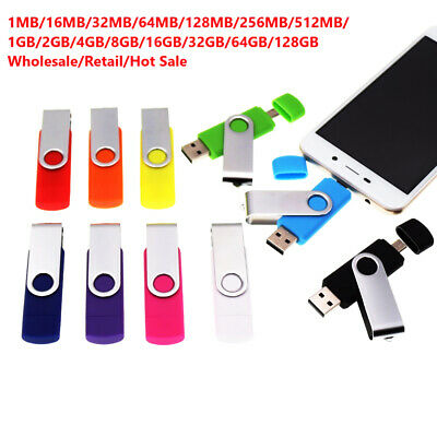 128/64/32/16/8/4/2/1GB i Flash Drive USB Memory Stick U Disk 2in1 for Android PC