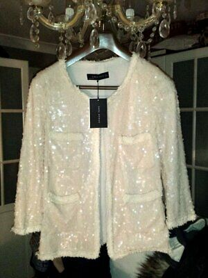 Woman Boucle Blazer Pink JACKE With MANTEL ZARA Sequins QBrxdeoCW