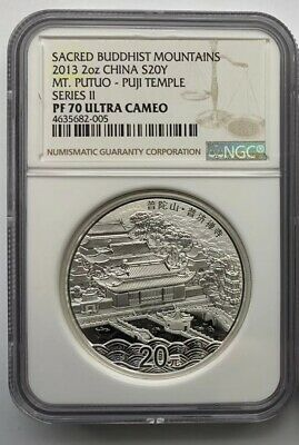 NGC PF70 UC China 2013 2oz Silver Chinese Sacred Buddhist Mountain Coin - Putuo