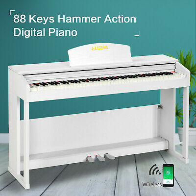 88 Key Weighted Hammer Action Electric Digital Piano Adapter+3 Pedal+Stand White