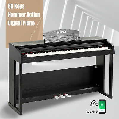 88 Key Weighted Hammer Action Electric Digital LCD Piano w/Adapter+Stand+3 Pedal