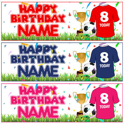 """2x LARGE 36"""" Personalised FOOTBALL Birthday Banner Trophy Ball Party Decoration"""