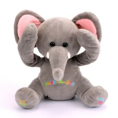 Electric Peek-A-Boo Elephant Plush Doll Singing Baby Music Toy Stuffed Soft Baby