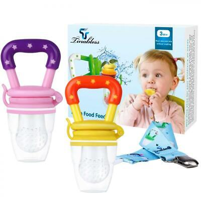 Baby Food Feeder - Tinabless Fresh Fruit Teething Toys with Pacifier Clip...