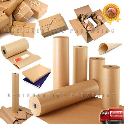 Brown Kraft Paper Parcel Book Gift Creative Wrapping Packing Full Roll All Sizes