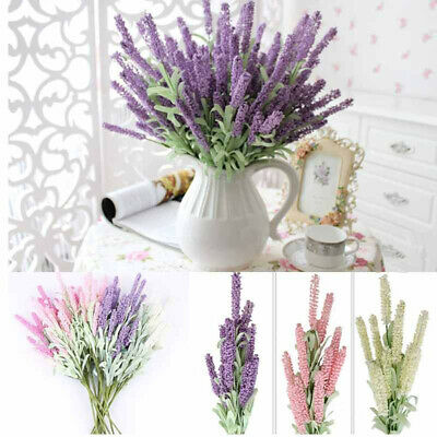 12Heads Artificial Fake Lavender Flower Bouquet DIY Home Party Wedding Decor Acc