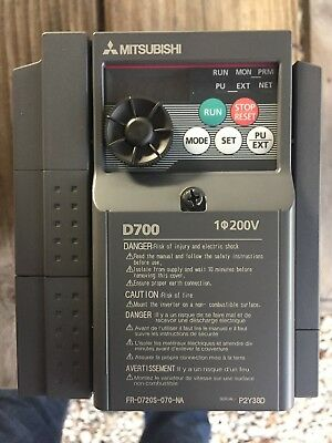 New, Mitsubishi, Fr-D720S-070-Na, Vfd, 3Ph, 200-240Vac, 50/60Hz.