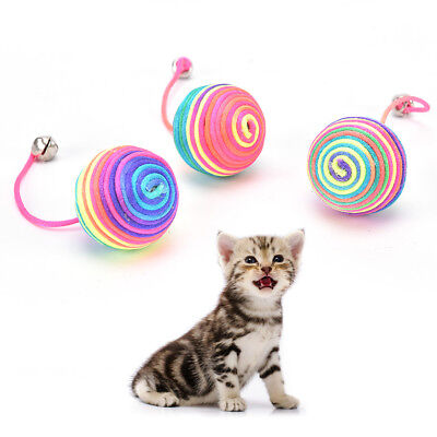 cat kitten dog pet colorful bell nylon ball playing toy gift chew squeaky BRI FF