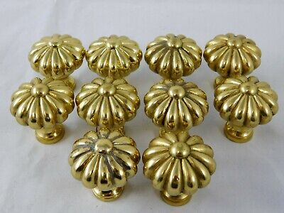 Vintage Lot of 10 Solid Brass Flower Drawer Pull Cabinet Knob Heavy Metal Floral