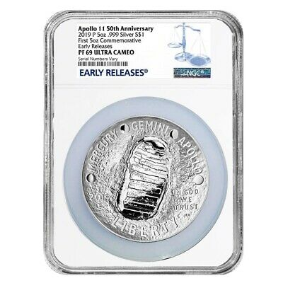 2019 P 5 oz Apollo 11 50th Anniversary Proof Silver Dollar Comm. NGC PF 69 ER