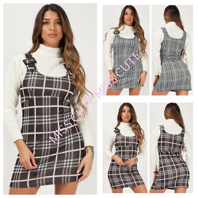 New Women's Ladies Buckle Strap Check Print Pinafore Dress Checked Mini Dress