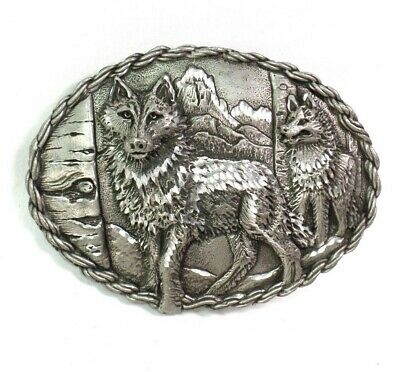 Vintage Belt Buckle Wolf Mountains EJC 1995 Made In USA Oval Mens Heavy