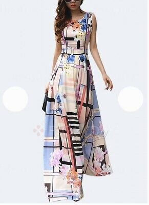 e0830f85aa BNWT!! Floryday Chiffon Floral Maxi Summer Dress Gown A Line Sleeveless  Large L