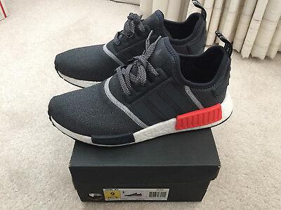 7f6f8250fb369 Adidas NMD R1 mens sneakers size 9 gray red boost with original box S31510