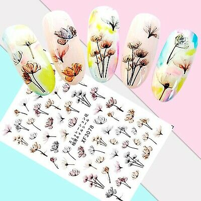 Nail Art Stickers Transfers 3D Self Adhesive Pale Multicoloured Flowers (XF3078)