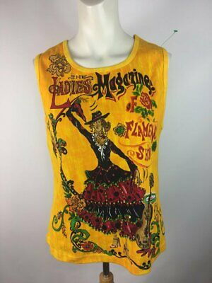 84d6cdd20f829 Blue Plate Women s Yellow Artsy Flamenco Show Sequin Tank Cami Top Size Xl