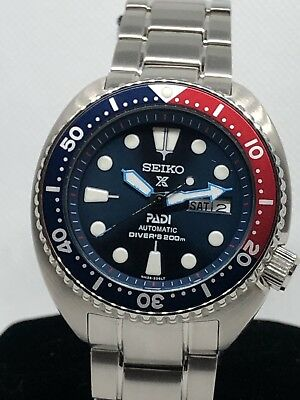 SEIKO PROSPEX PADI Diver 200M Auto Men Watch Day Date Turtle Mod Pepsi  4R36-04Y0