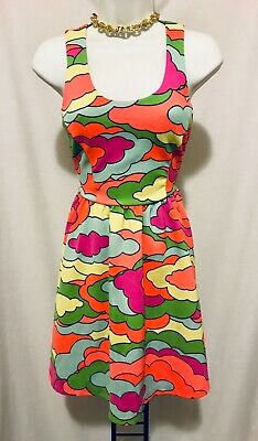 3b33881624 Women s Nanette Lepore L AMOUR Neon Clouds Psychedelic Flare Skater Dress S