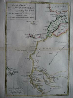 1780 - BONNE - Map NORTH WESTERN AFRICA coast  MOROCCO  CANARY & CAPE VERDE Is.