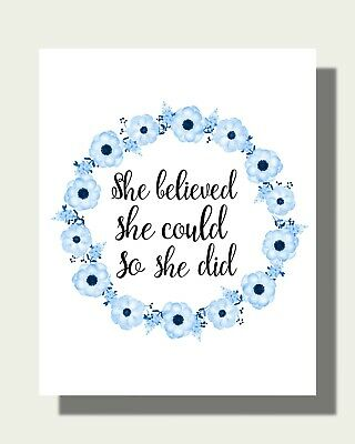 She Believed She Could So She Did Art Print - Gifts For Her Artwork PQ786