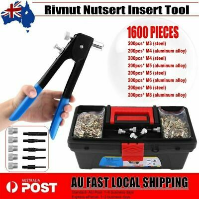 1600pcs Nut Rivet Riveter Rivnut Nutsert Gun Riveting Threaded Mandrels M3-M8