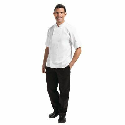 Whites Vegas Unisex Chefs Jacket with Short Sleeve in White - Polycotton - S