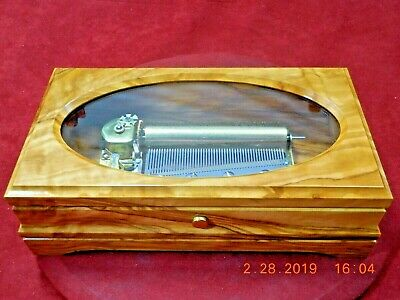 New Spanish Olivewood Box w/Fully Restored Reuge Swiss 4 tune 50 note movement
