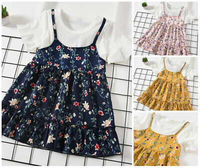 1PC Girls Toddler clothes kids Baby Girls summer dress floral Party Dress