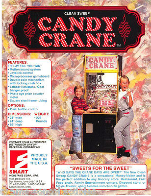 Smart Clean Sweep CANDY CRANE Original NOS Claw Arcade Redemption Sales Flyer