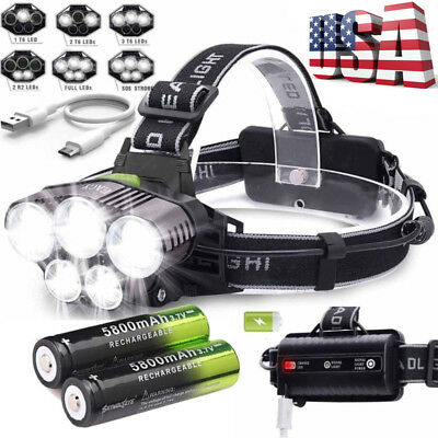 Super-bright 90000LM 5 X T6 LED Headlamp Headlight Flashlight Head Torch 18650