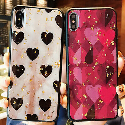 Iphone 11 Pro Max 8 Plus XS Max XR Girl's Cute Love Heart Bling Phone Case Cover