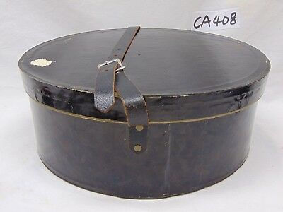 """Vintage Black Hat Box 11"""" X 13"""" X 5"""" Rare Carrier Case W/leather Strap-Red Int."""