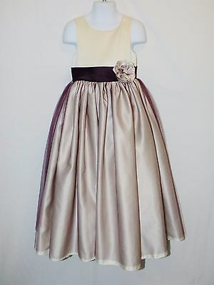 9b04b3656a Sz 4 Sweet Beginnings Girl Dress Purple Satin Easter Wedding Christmas  Church