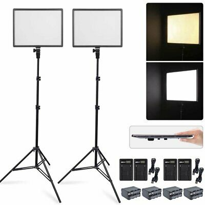 2X CN-Luxpad43H Slim LED Video Light Panel + 2X 2M Stand + 4X Battery & Charger