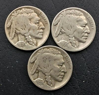 Lot of 3 1936 - P, D & S  5c Indian Head Buffalo Nickels