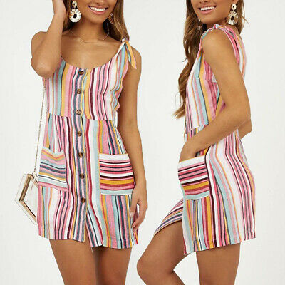 Women Ladies Sleeveless Strappy Casual Cocktail Party Dress Pencil Slim Bodycon