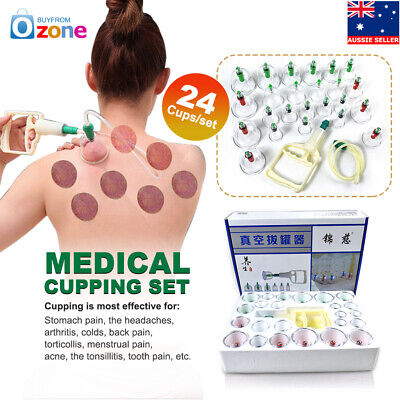 24 Cups/set Medical Chinese Vacuum Cupping Body Massage Therapy Healthy Suction