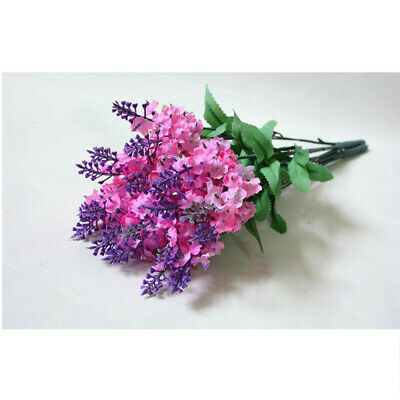 10 Heads Artificial Lavender Fake Silk Flower Home Wedding Party Decor Bouquet