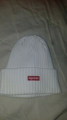 50d383a1ddd53 Supreme White Overdyed Beanie Hat OS One Size SS19 Small Box Logo